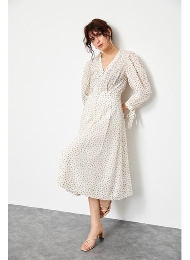 Setre Ekru-Bej Balon Kol Puantiyeli Midi Elbise Bej